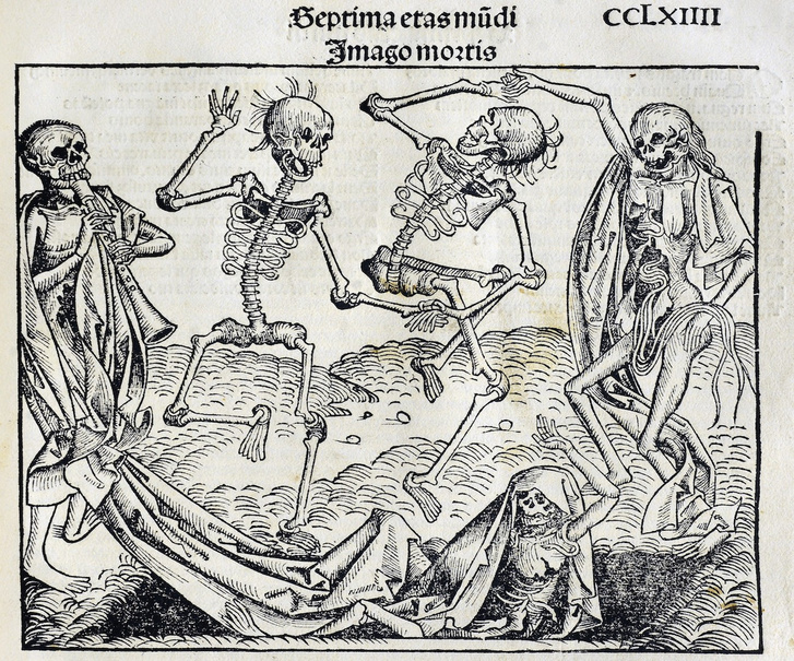 Haláltánc - Michael Wolgemut metszete a pestisről (1493)