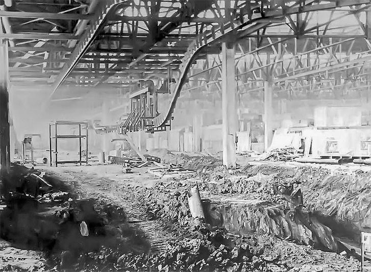 Az építés alatt lévő szerelőcsarnok