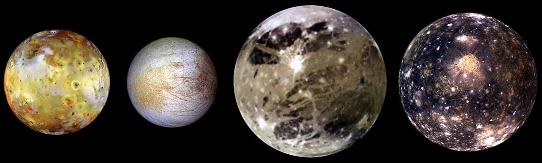 A Jupiter Galileo-holdjai: Io, Europa, Ganymede és Callisto