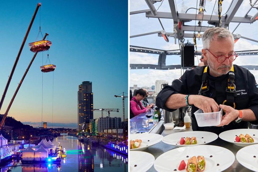 Az 50 méteres magasságban lebegő étterem Dubajban és Belgiumban is megtalálható. Azoknak mindenképp ajánlott, akik szeretik a finom ételeket, és a tériszonnyal sincs gondjuk. A magasságért cserébe pazar kilátást kapnak a vendégek.