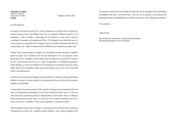Kovács Zoltán államtitkár levele Heino Nyyssönenhez.