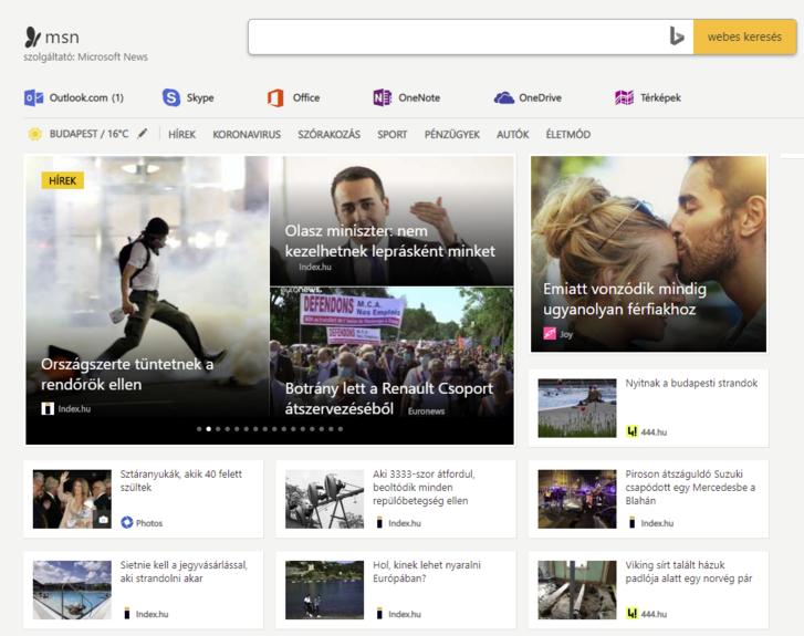 Az MSN.com magyar kiadása.