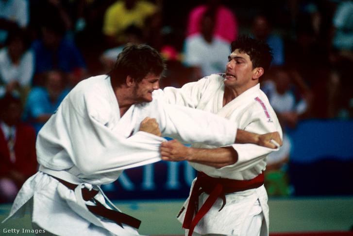 Kovács Antal (balra) és Raymond Stevens az olimpiai döntőben