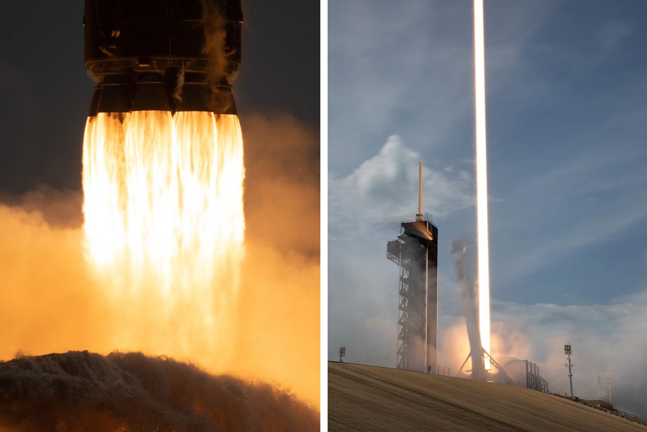 Két végletesen eltérő expozíciós idővel készült fotó a startról. A bal oldali kis záridővel készült, szinte megdermeszti a pillanatot, ahogy a kilenc Merlin hajtóműből előtörő lángok tolják a magasba a Falcon-9 rakétát, miközben a rakétára veszélyes hangrezgéseket elnyomó víz özönlik a startállás gödrébe. Jobbra egy hosszú záridővel készült fotó, amin csak az emelkedő rakétából előtörő lángok vakító fényének csíkja látszik.
