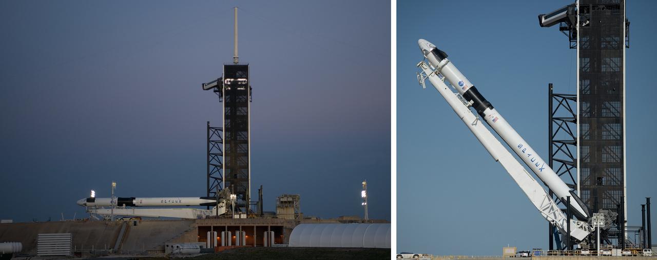 2020. május 21. Függőleges pozícióba állították a Falcon-9 rakétát. Csúcsán a Crew Dragon űrhajó készen áll a Demo-2 emberes tesztrepülésre.