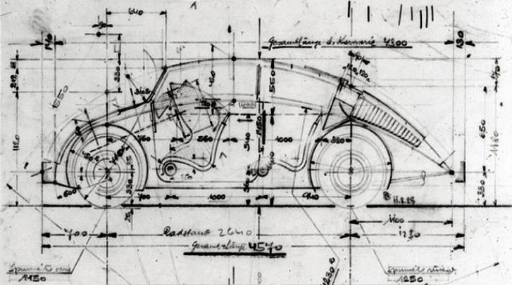 Barényi Béla tervrajza, pert nyert Porsche ellen