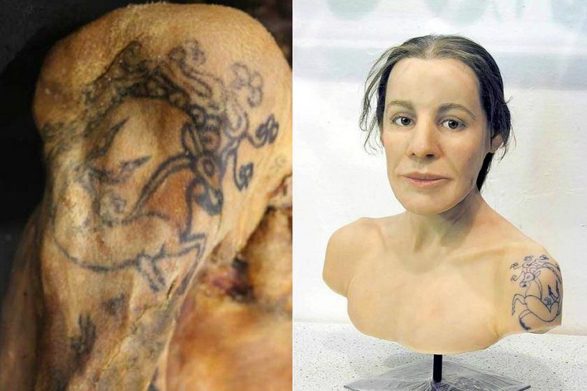 A paziriki kultúra magas rangú tagjának, Ukok hercegnőnekma is látható, állatokat ábrázoló tetoválások díszítik karját. Vállán mitológiai szarvas van. Díszes ruhában, lovaival és két harcosával együtt temették el. Egy, az Altaj-hegyvidékben lelt kurgánból, azaz halomsírból emelték ki. A Krisztus előtti 500-as években élhetett.