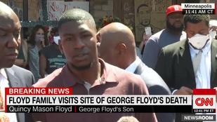 George Floyd fia elment oda, ahol meghalt az apja