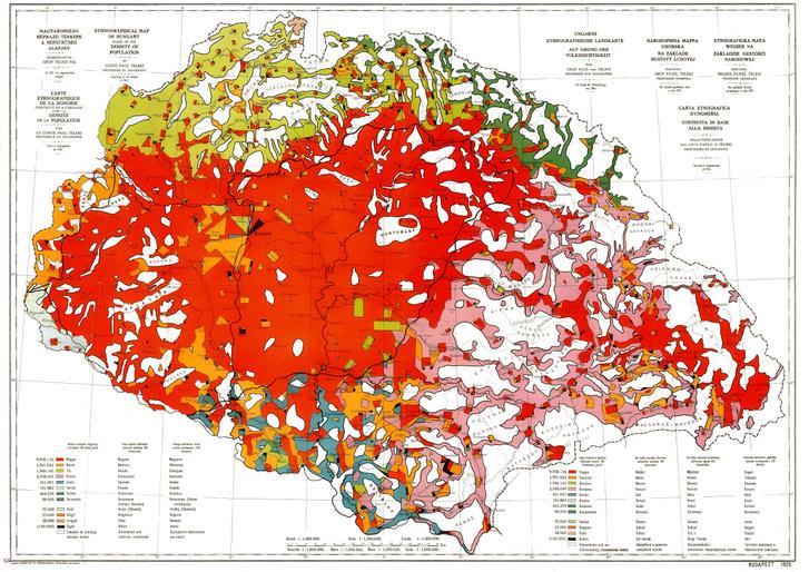 Magyarország néprajzi térképe népsűrűség alapján 1920.
