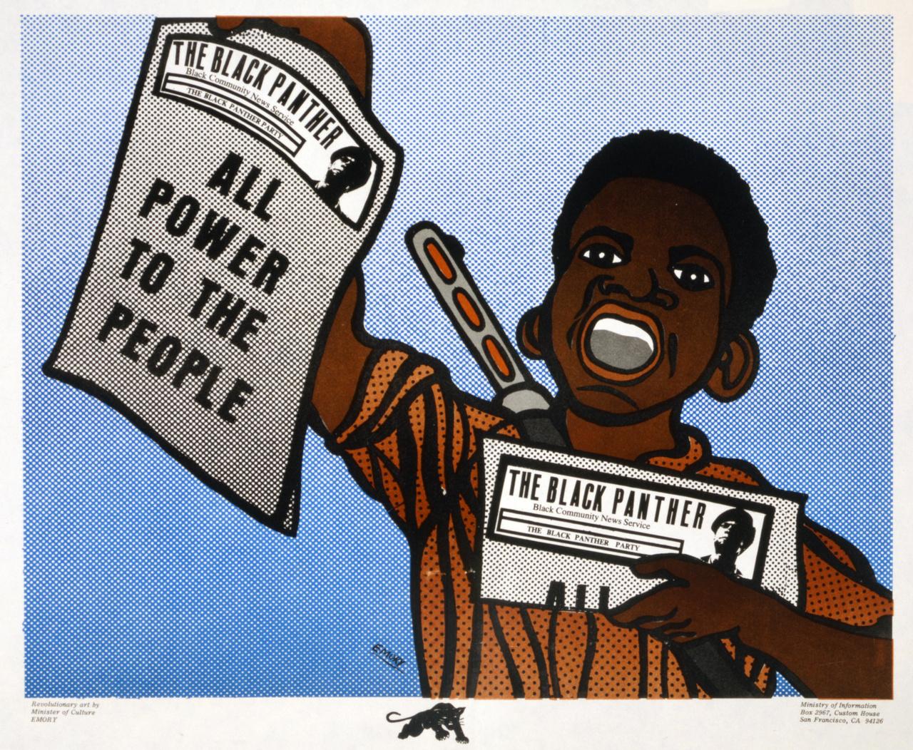 """Egy újabb Emory-klasszikus 1970-ből: fiatal fegyveres rikkancs Roy Lichtensteint-idéző raszteres stílusban. """"Minden hatalmat a népnek"""" – áll a Fekete Párducok újságjának címlapján."""
