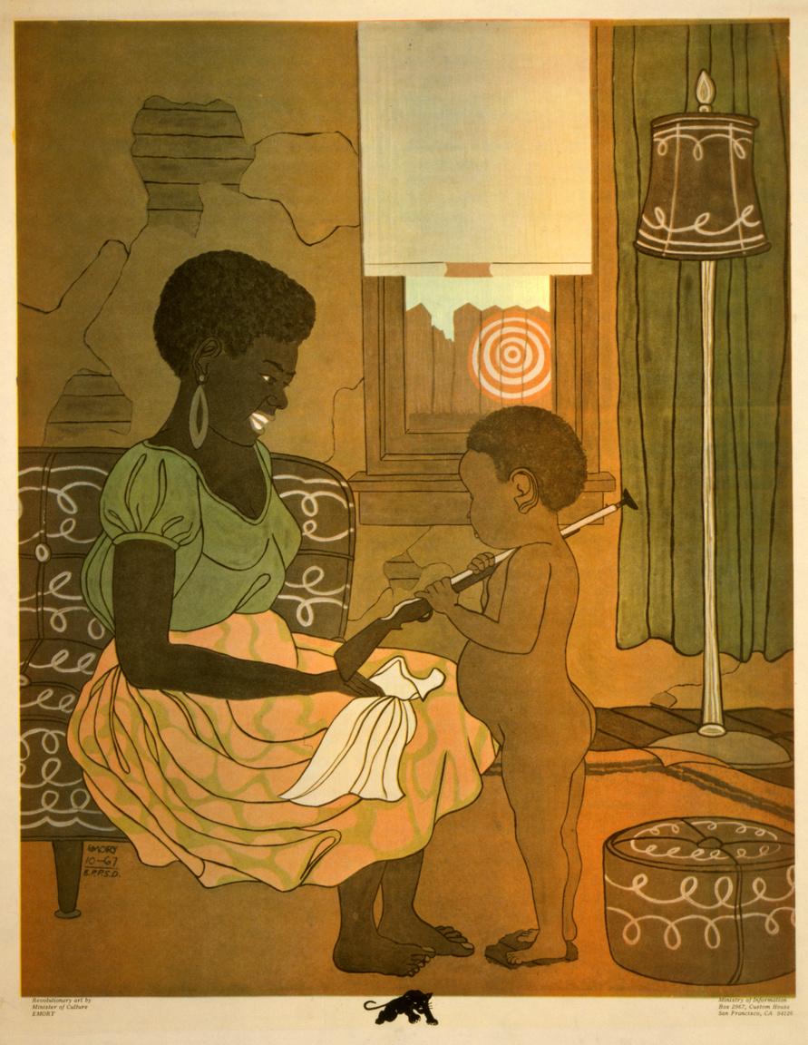 Egy 1967-es Emory Douglas plakát, rajta egy láthatóan szegénységben élő anya és játék puskát tartó kisfia. A Fekete Párducok politikai üzeneteiket gyakran ehhez hasonló, jelszavak, explicit követelések nélküli, csupán a legmélyebb érzelmekre ható képekkel közvetítették.