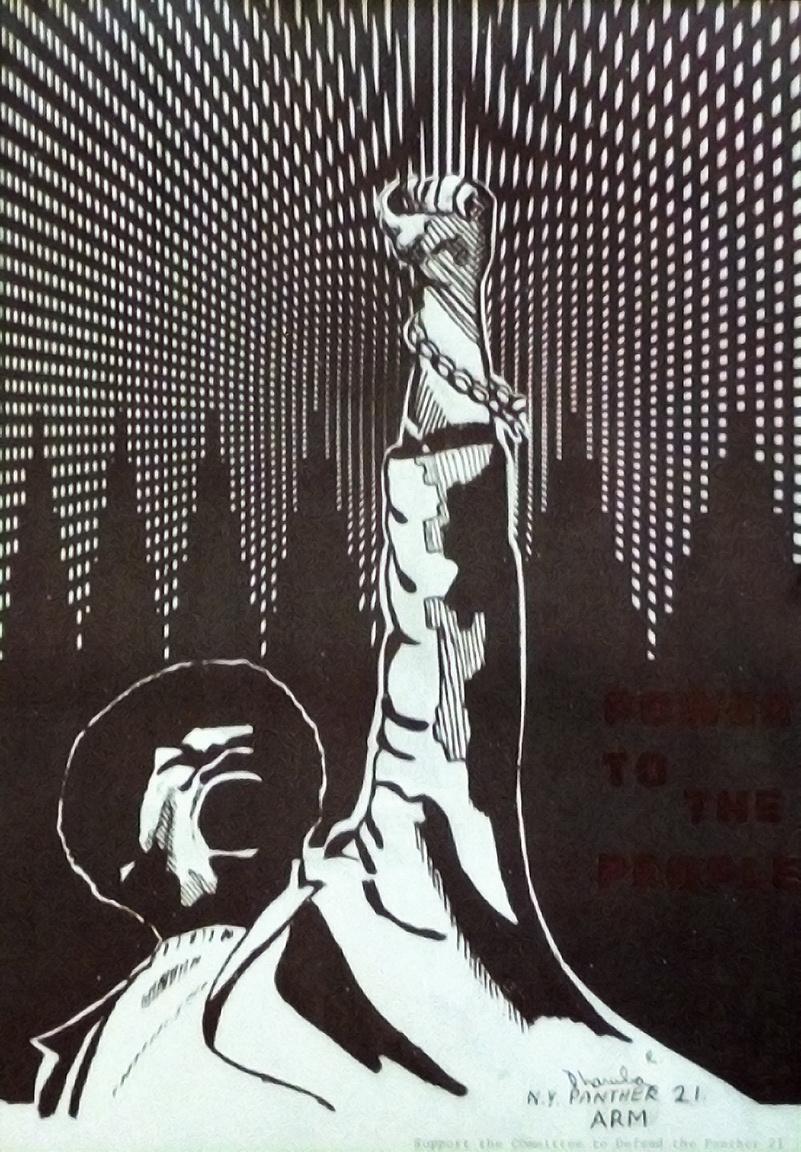 """""""Hatalmat a népnek"""" – az 1969-ben terrortámadás előkészítésével megvádolt 21 New York-i Fekete Párducok tag szabadon engedését követelő plakát."""