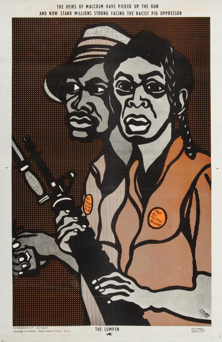"""""""Malcolm örökösei fegyvert ragadtak és most milliók néznek farkasszemet a rasszista disznó elnyomókkal"""" – 1970-es Emory Douglas-plakát. A pisztollyal, puskával fölfegyverkezett, eltökélt fekete pár kitűzőin a szöveg: """"Minden hatalmat a népnek"""" és """"Engedjenek szabadon minden politikai foglyot""""."""
