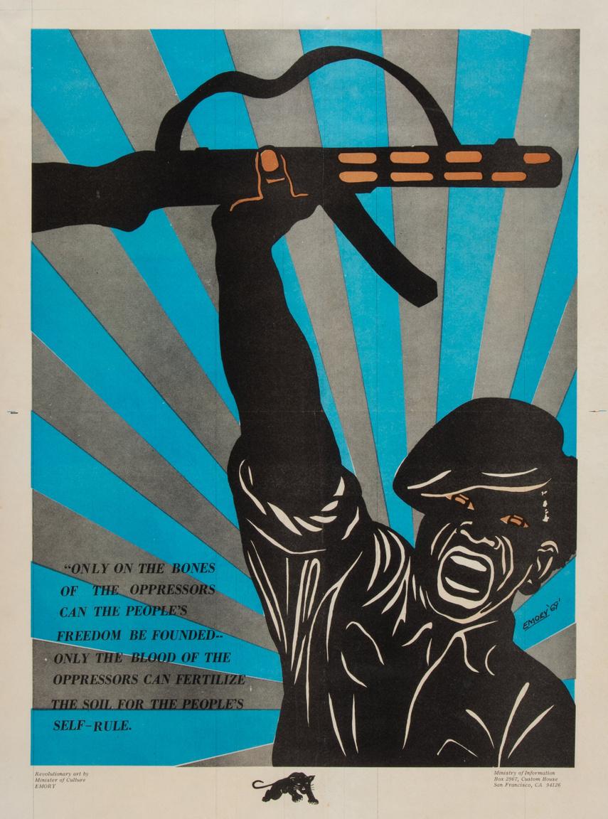 """1969-es  Emory Douglas plakát. Balra alul egy korai, 1905-ös Sztálin-idézet """"Csak az elnyomók csontaira lehet építeni a nép szabadságát. Csak az elnyomók vére képes megtermékenyíteni a talajt az emberek önrendelkezéséhez."""""""
