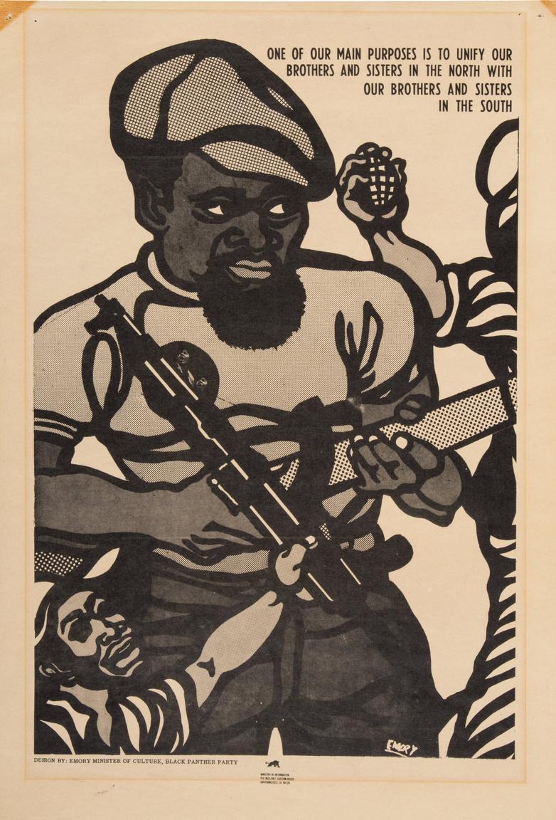 """Egy monokróm Emory Douglas-plakát 1969-ből, amin három fegyveres férfi látható és a szlogen: """"Egyik fő célunk az északon és délen élő nővéreink és fivéreink egyesítése."""" A jelszó a Fekete Párducok egyik fontos célkitűzését, a déli államokban élő, vidéki afroamerikai közösségek és az északi nagyvárosok gettóiban lakó urbánus feketék közt húzódó ellentétek feloldását, közös platformra segítését hangoztatja."""