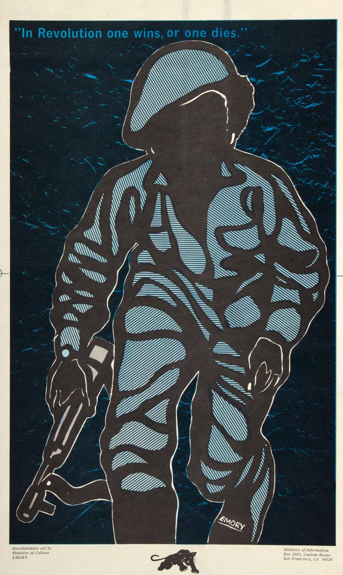 """""""A forradalomban vagy győzöl, vagy meghalsz"""" – Emory Douglas 1969-es szuggesztív plakátja."""