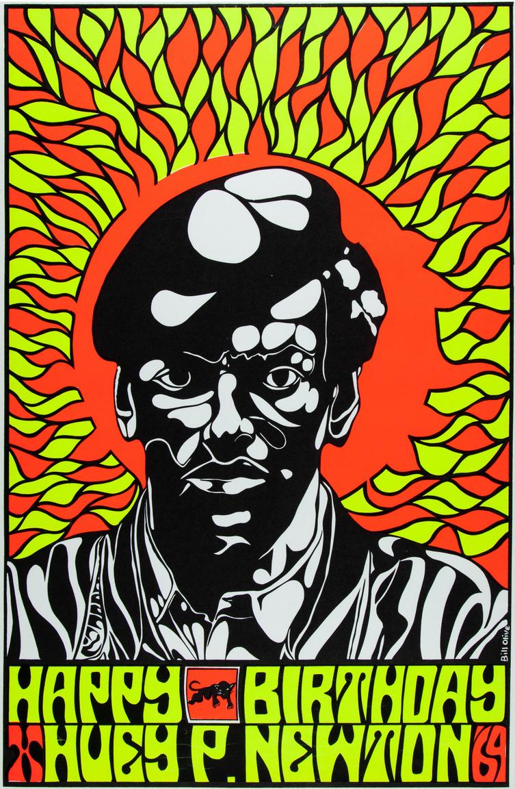 1969-es Huey P. Newton születésnapi plakát, a korszak pszichedelikus stílusában – Bill Olive brit képzőművész alkotása.