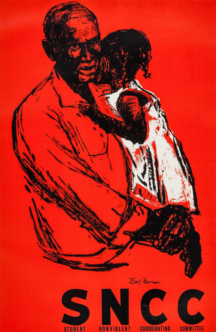 A Hallgatók Erőszakmentes Koordinációs Bizottságának (Student Nonviolent Coordinating Committee, SNCC) szöveges üzenet nélküli plakátja, egy lányát karjában tartó fekete férfiről. Earl Newman képzőművész alkotását leginkább adománygyűjtő alkalmakkor lehetett látni a hatvanas évek elején.