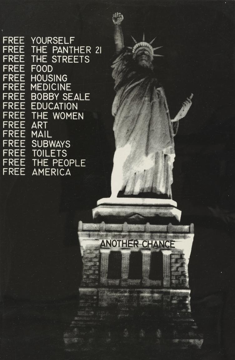 A feketék jogaiért küzdők mozdulata ennek a plakátnak a fő motívuma: fáklyát tartó kéz helyett magasba emelt, ökölbe szorított keze van a New York-i Szabadság-szobornak. A plakát 15 követelést sorol, köztük másodikként az 1969-ben rendőrőrsök elleni terrortámadás előkészítésével megvádolt 21 Fekete Párducok tag szabadon engedését. A januárban letartóztatott polgárjogi aktivistákat májusban engedték szabadon, a nyolc hónapig húzódó per végül a felmentésükkel zárult, mind a 156 koholt vádpontot ejtették. A plakát hetedik pontja a Fekete Párducok társalapítójának, az 1968-ban összeesküvés vádjával letartóztatott és bebörtönzött, 1969-ben törvénnyel való szembeszegülés miatt 4 évre elítélt Bobby Seale-nek a szabadon engedését követeli.