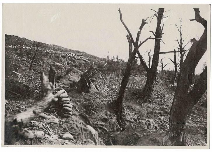 Elhagyott csatatér valahol az olasz fronton, 1915-ben