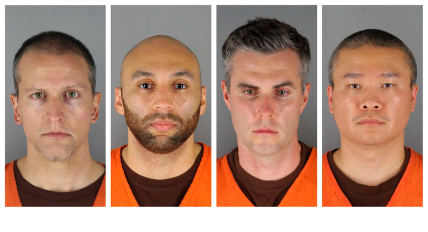A négy rendőr: Derek Chauvin, J. Alexander Kueng, Thomas Lane és Tou Thao.