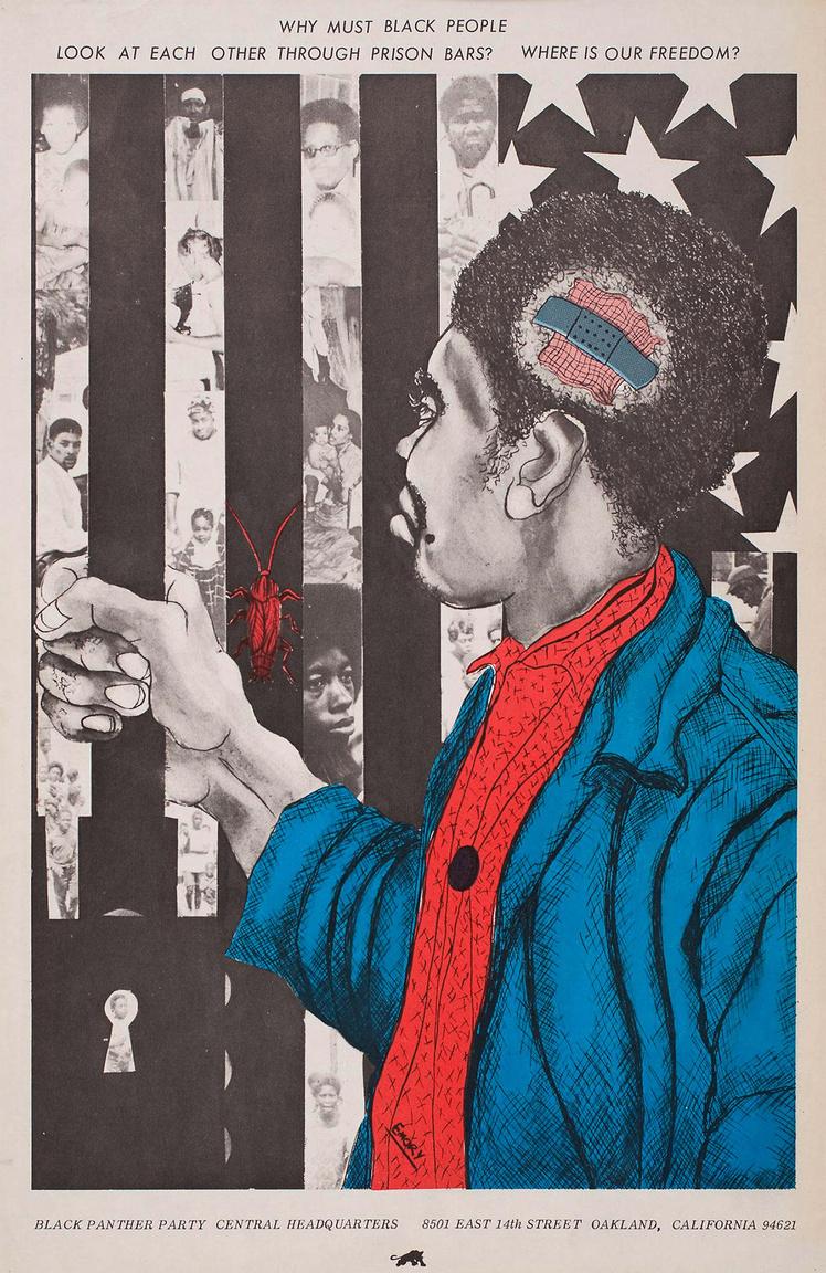 """""""Miért kénytelenek a feketék a börtön rácsain át nézni egymásra? Hol a mi szabadságunk?"""" – Emory Douglas 1971-es plakátja."""