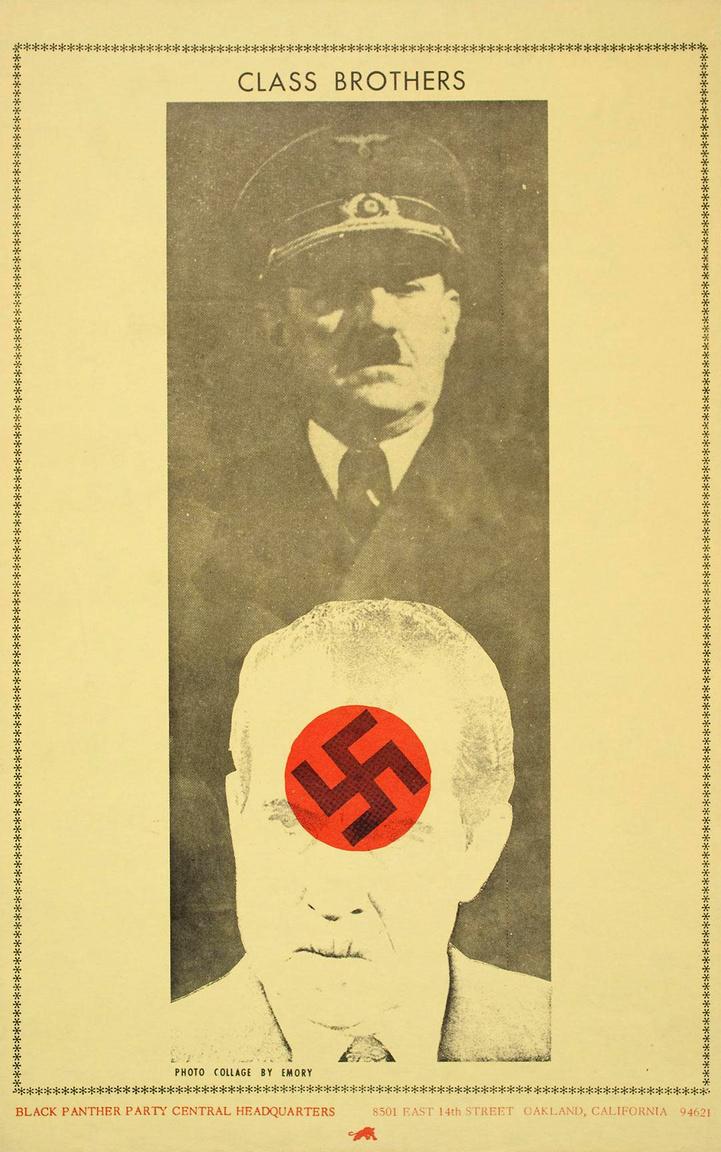 """""""Osztálytestvérek"""" – Emory Douglas Adolf Hitlert és Richar Nixon amerikai elnököt párhuzamba állító plakátja 1973-ból."""