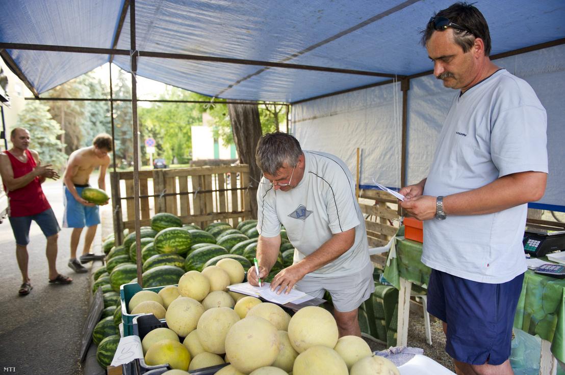 Dinnyetermesztő állít ki számlát egy zöldségkereskedőnek Orosházán
