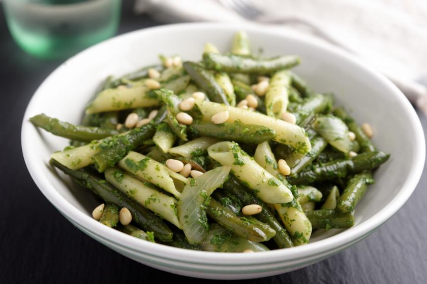 zöldbabos pesztós tészta recept