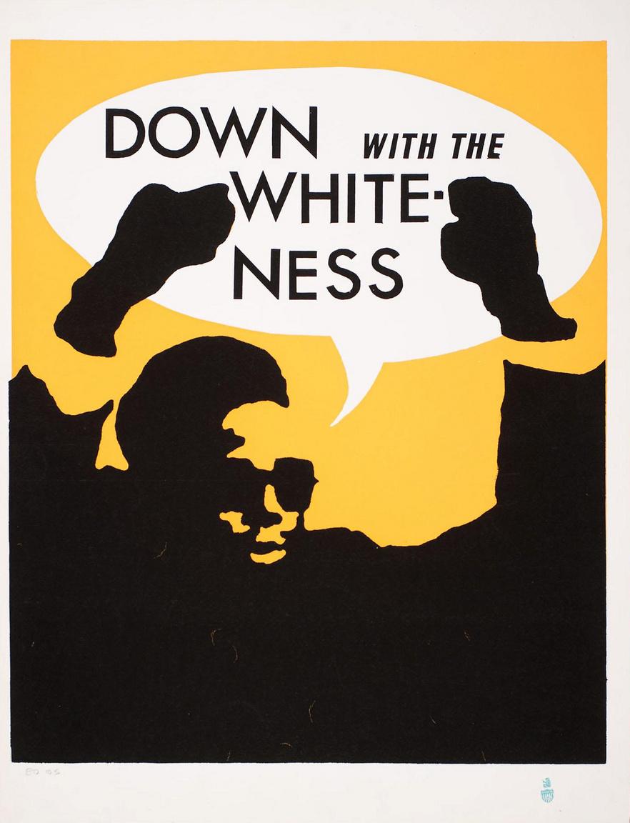 """""""Le a fehérséggel"""" – Rupert Gracia művészi plakátja a San Francisco-i egyetem diáktüntetéseihez készült."""