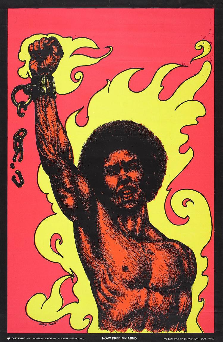 """""""Most! Szabadítsd fel a tudatomat"""" – lángoktól ölelt, bilincseit szétörő, öklét magasba emelő fekete férfi. George Goode művészi plakátja, 1971."""
