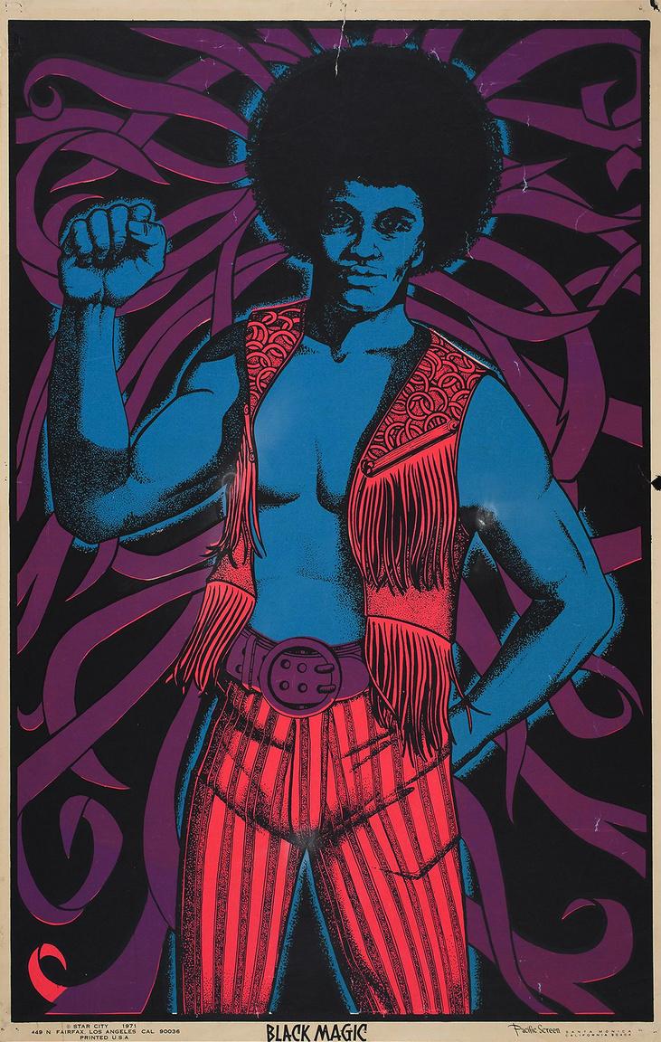 Fekete Mágia – művészi pop-pol poszter 1971-ből.