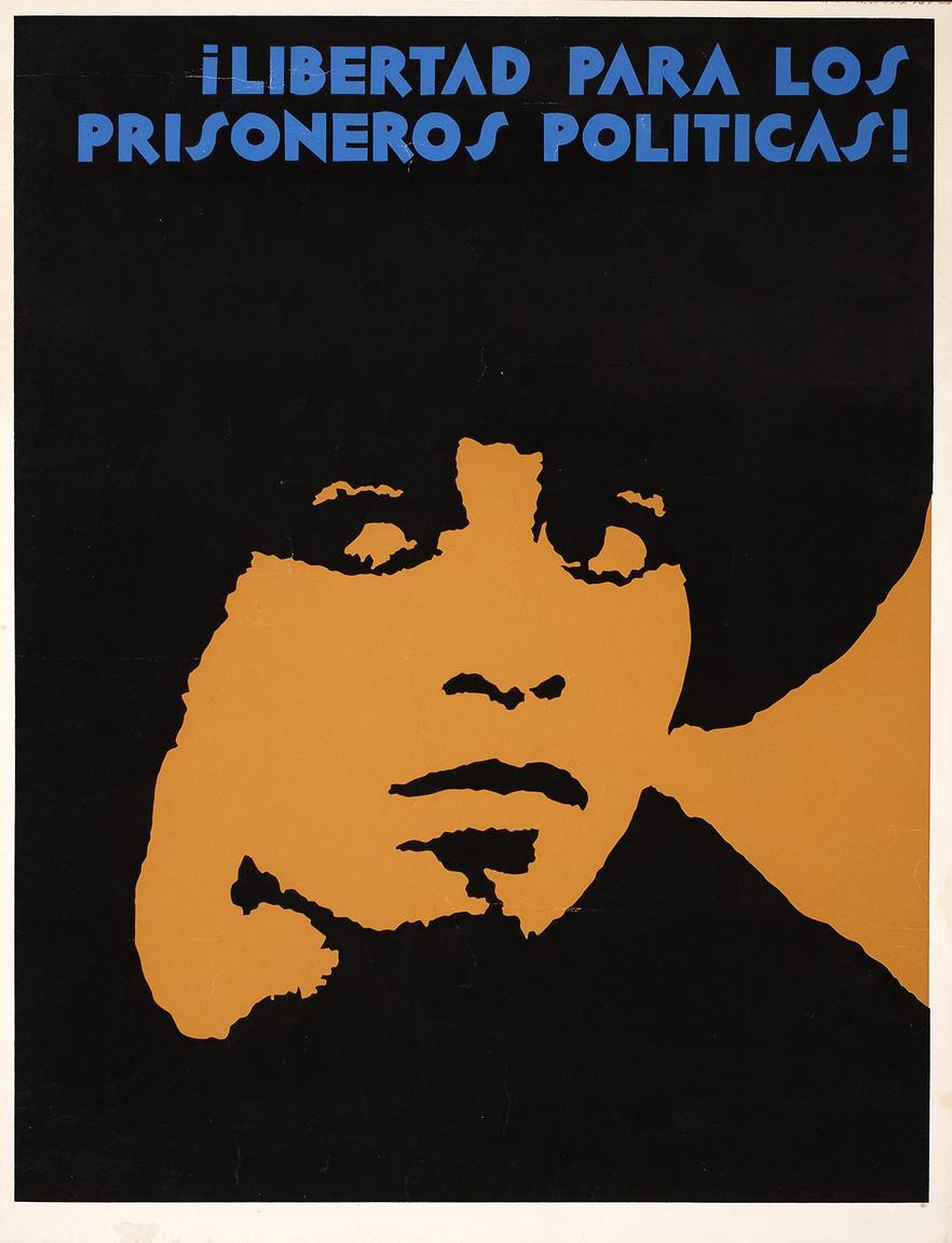 """""""Engedjék szabadon a politikai foglyokat! – 1971-es plakát, rajta Angela Davis."""