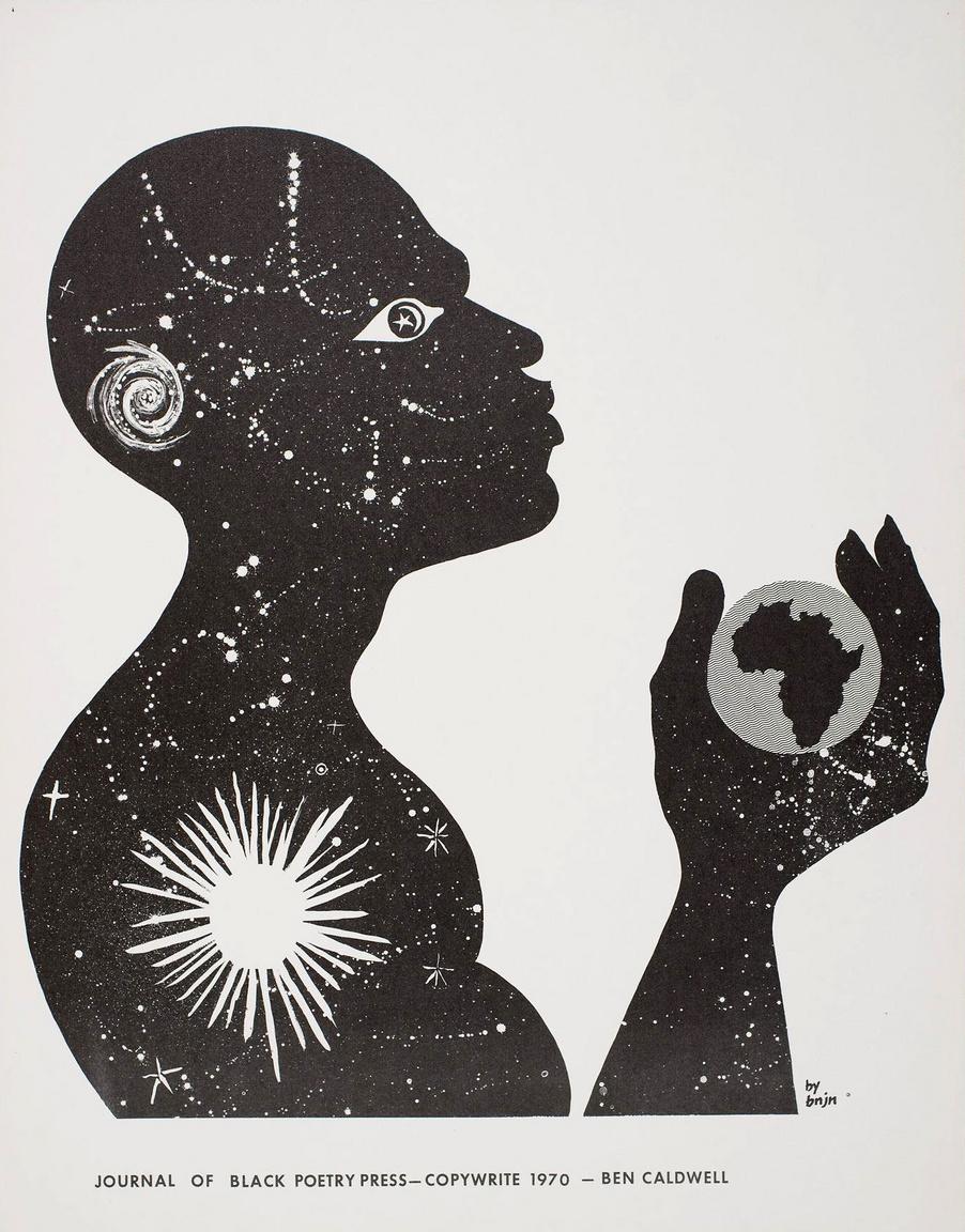 Ben Caldwell költő-képzőművész 1970-es művészi plakátja.