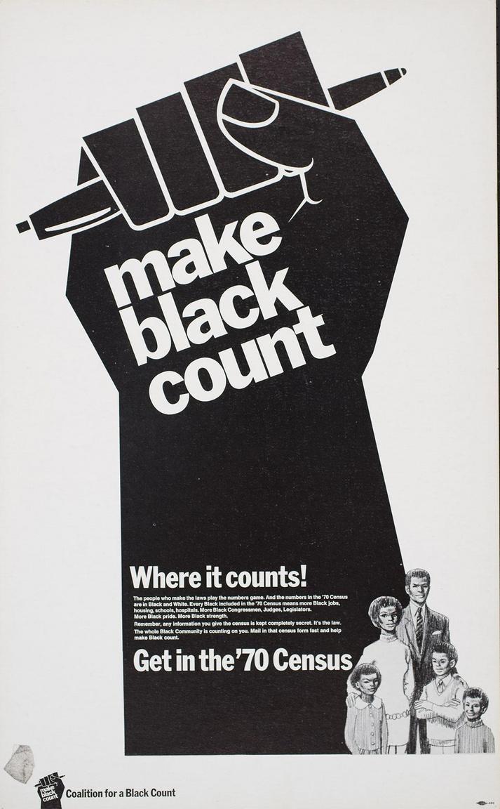 A feketék politikai aktivitását célzó plakát 1970-ből. A fölemelt ököl tollat tart, amivel arra utal a plakát, hogy vetessék fel magukat a választói névjegyzékbe a szavazásra jogosult afroamerikaiak, hogy beleszólhassanak a nemzet ügyeibe.