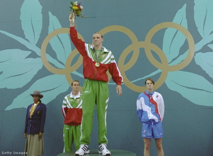 Rózsa Norbert az olimpiai dobogó tetején 1996-ban Atlantában