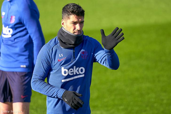 Luis Suárez a Barcelona januári edzésén.