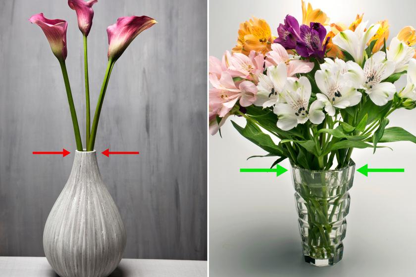 Amikor vázába teszed a virágokat, nem mindegy, hogyan és milyen tárolóedénybe kerülnek. Még egyszer jól mosd ki, hiszen az előző használat óta kerülhettek bele baktériumok. Emellett ügyelj rá, hogy a csokrot bontsd szét, mielőtt vázába tennéd, hogy megfelelő mennyiségű vízhez juthassanak a virágok. Érdemes széles szájú vázát választani, szűk vázában a szalag kioldása mit sem ér: a szálak továbbra is összezsúfolódnak.