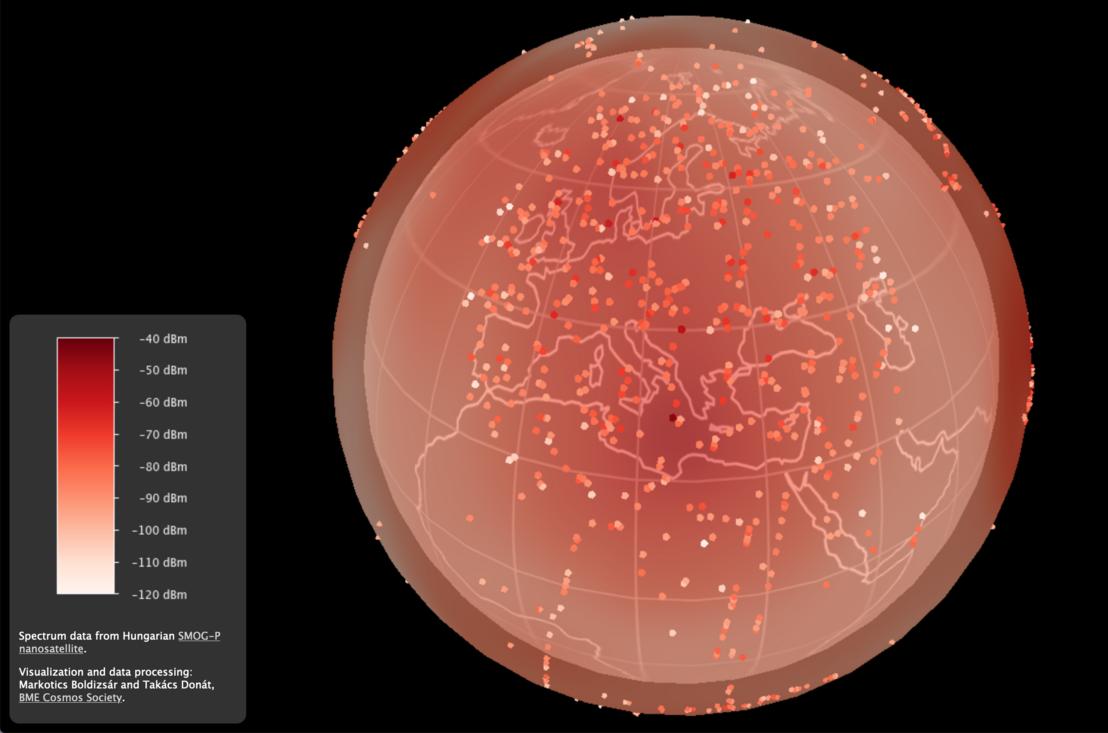 A mérési pontok egyszerűsített eloszlása. A háromdimenziós térkép a képre kattintva érhető el. Készítői: Markotics Boldizsár és Takács Donát egyetemi hallgatók (VIK).