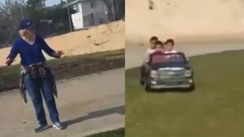 Kiakadt egy idős nő, hogy miért nincs jogosítványa a játékautót vezető kisgyerekeknek