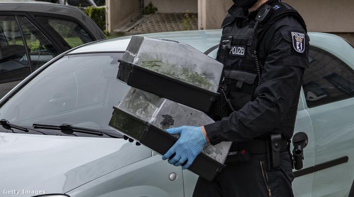 Kannabisz ültetvényt találtak a rendőrök Berlinben az Ahrenshooper utcában, az itt lefoglalt palántákat szállították el a rendőrök 2020. május 7-én