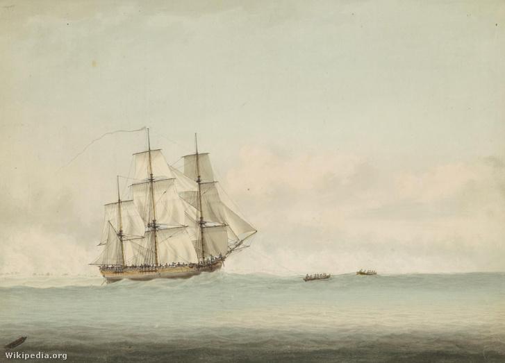 Az HMS Endeavour Új-Hollandia partjai mellett (Samuel Atkins, 1794)