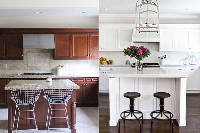 Hihetetlen, milyen sokat jelent, melyik szín van túlsúlyban: a korábbi sötét bútor, világos padló kombináció fordítottja üdévé tette a konyhát. A pult alá bújó székek helytakarékosabbak a régieknél, a különleges lámpa pedig lelket adott a helyiségnek.