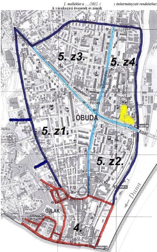 A tervezett zónák (forrás: III. kerületi önkormányzat)