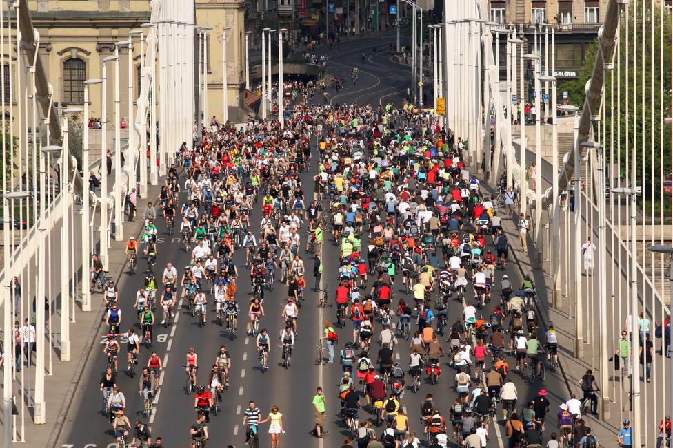 Öt évvel később már annyi résztvevő volt, hogy a menet körbeért. Az Erzsébet-hídon egyszerre mennek oda- és visszafelé a felvonulók, elfoglalva az összes sávot a híd teljes szélességében.