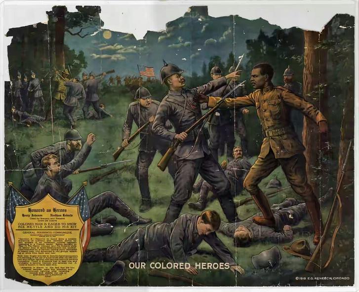 Színesbőrű hőseink című illusztráció Johnson, Roberts és a németek harcáról 1918-ból.