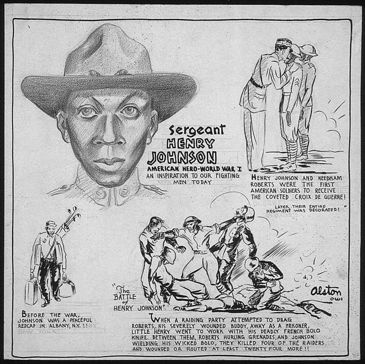 Egy második világháborús toborzóposzter, ami Johnson történetével csalogatta a seregbe az amerikai fiatalokat.