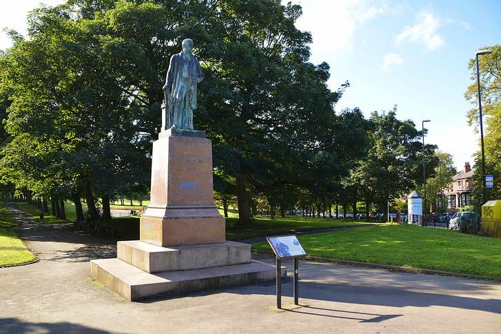 Sir Robert Peel leedsi szobra, eredetileg az apjával keverték össze