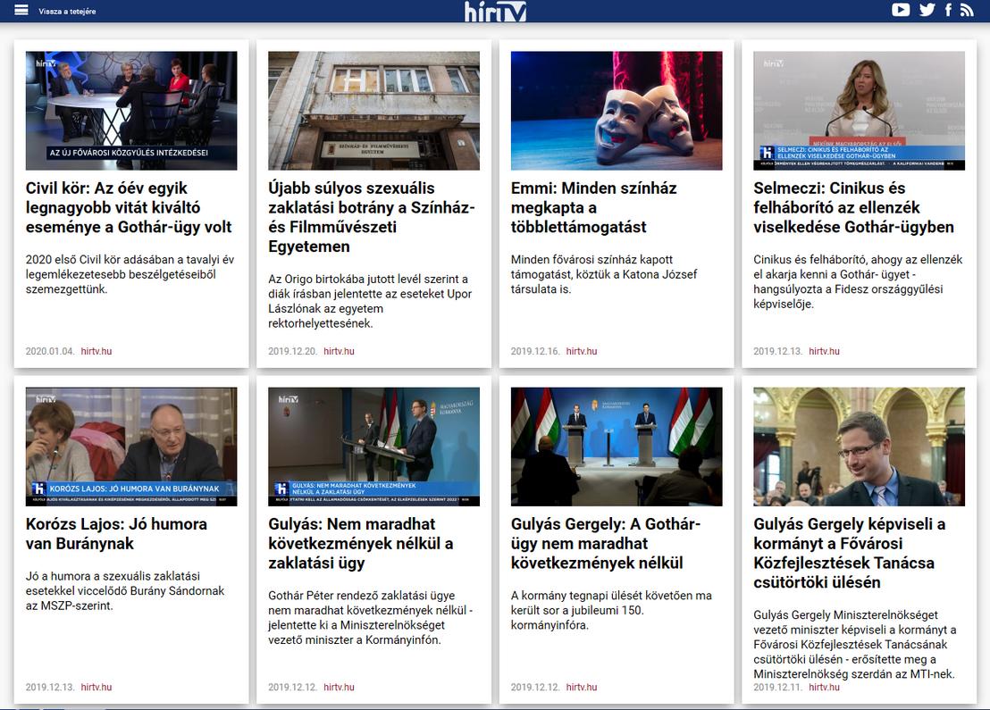 Gothár-ügy kulcsszóra keresés találati listája a Hír TV oldalán