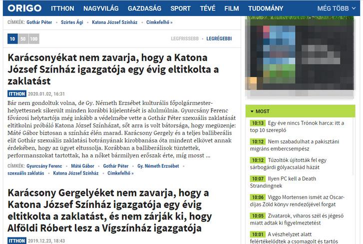 Az Origo oldalon külön címke alatt található Gothár Péter cikkek